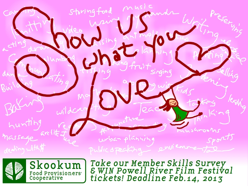 Click the picture to take the 3-minute survey and you can win tickets for 2 to the Powell River Film Festival (Feb 19-24, 2013)